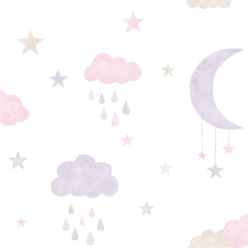 Kids Vinyl Wallpaper Moon Stars white purple LO2002
