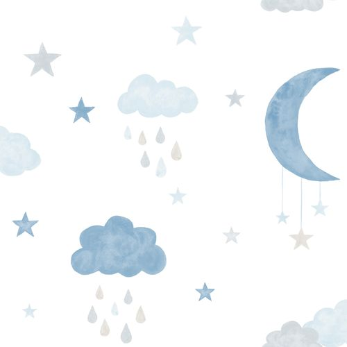 Kids Vinyl Wallpaper Moon Stars white blue LO2003