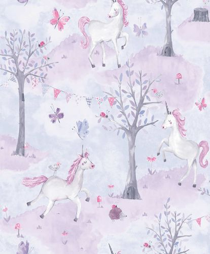 Kids Vinyl Wallpaper Unicorns Tales purple pink LO2101