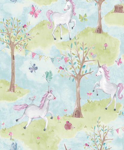 Kids Vinyl Wallpaper Unicorns Tales blue green LO2102 online kaufen
