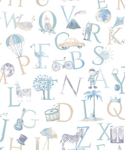 Kids Vinyl Wallpaper Letters Animals white blue LO2301
