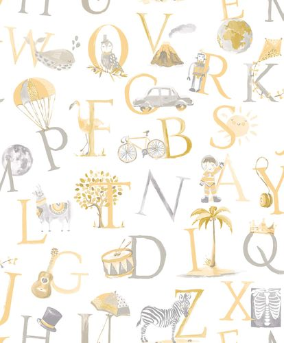 Kids Vinyl Wallpaper Letters Animals white yellow LO2302 online kaufen