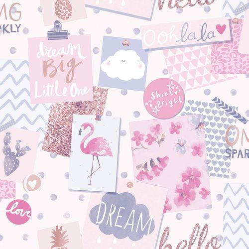 Kids Vinyl Wallpaper Postcards pink colourful LO2402