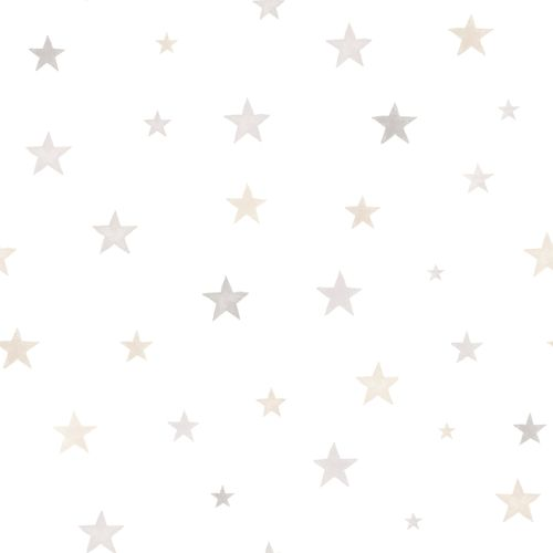 Kids Vinyl Wallpaper Stars Watercolour white beige LO2701