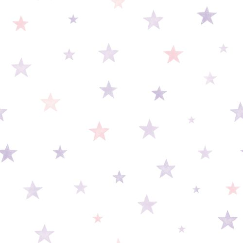 Kids Vinyl Wallpaper Stars Watercolour purple LO2702