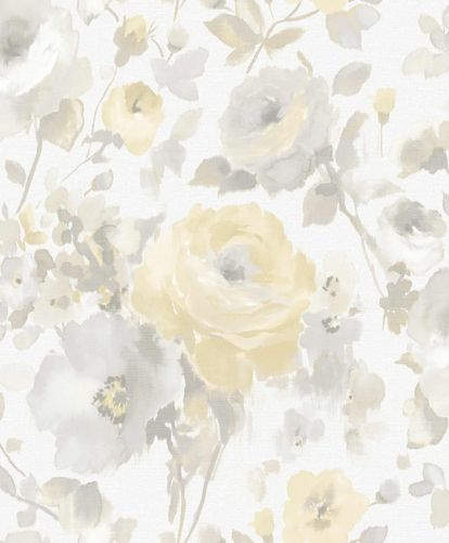 Vinyl Wallpaper Flowers Watercolour white grey SN3001