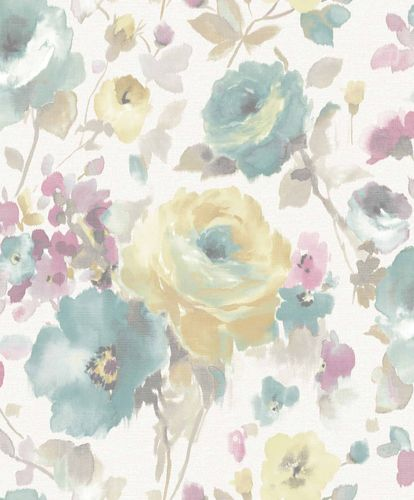 Vinyl Wallpaper Flowers Watercolour white colourful SN3005 online kaufen