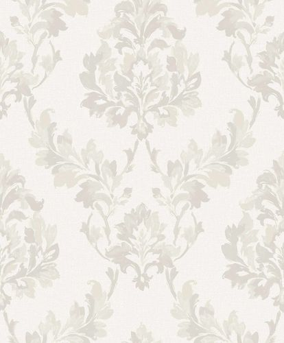 Vinyl Wallpaper Damast Ornament grey white grey SN3201