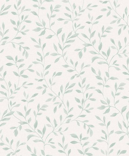 Vinyl Wallpaper Leaves Branches grey white green SN3304 online kaufen