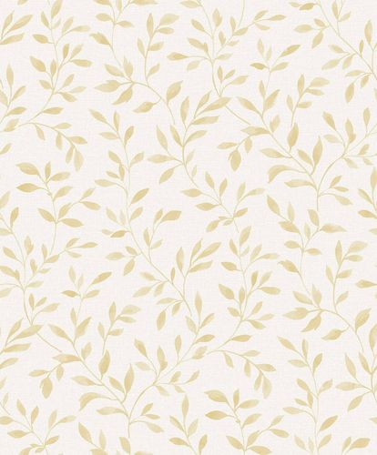 Vinyl Wallpaper Leaves Branches grey white yellow SN3312 online kaufen