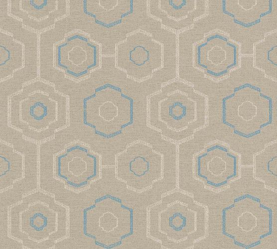 Vinyl Wallpaper Ethno Retro cream beige blue 37177-1 online kaufen