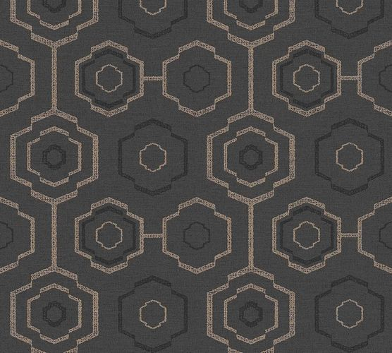 Vinyl Wallpaper Ethno Retro black bronze 37177-4