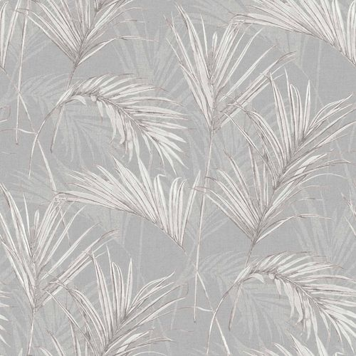 Vinyl Wallpaper Palm Leaves grey white metallic MY2006 online kaufen