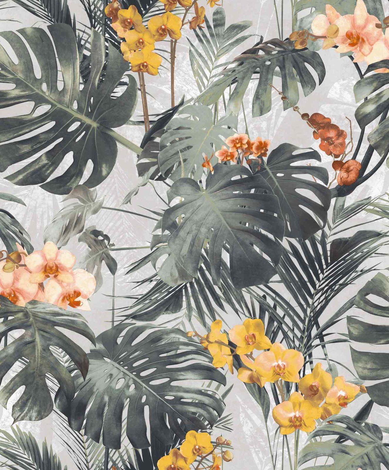 Vinyltapete Blätter Blumen Floral Grau Grün Myriad MY2101
