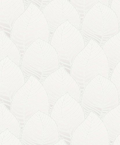 Non-Woven Wallpaper Leaves grey white Metallic ON3003