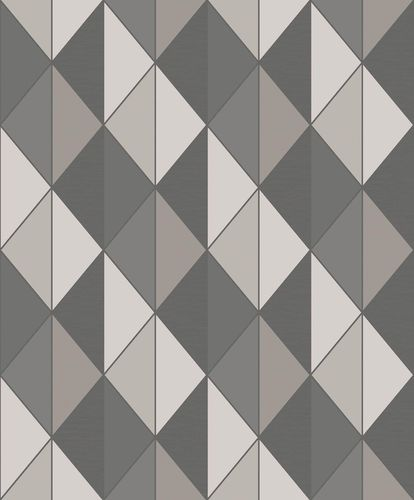 Non-Woven Wallpaper Triangles Graphic grey Glitter ON3101