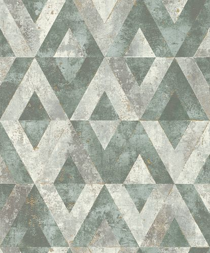Non-Woven Wallpaper Rasch Triangles green grey 535501 online kaufen