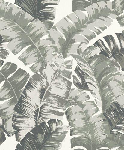 Non-Woven Wallpaper Rasch Leaves white green 535600