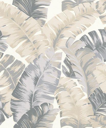 Non-Woven Wallpaper Rasch Leaves white grey 535617 online kaufen