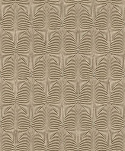 Non-Woven Wallpaper Rasch Leaves 3D brown silver 535822