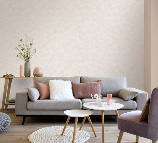 Vinyl Wallpaper Blossoms cream beige metallic 10029-02