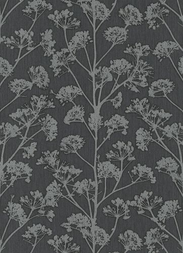 Non-Woven Wallpaper Blossoms anthracite metallic 10029-15