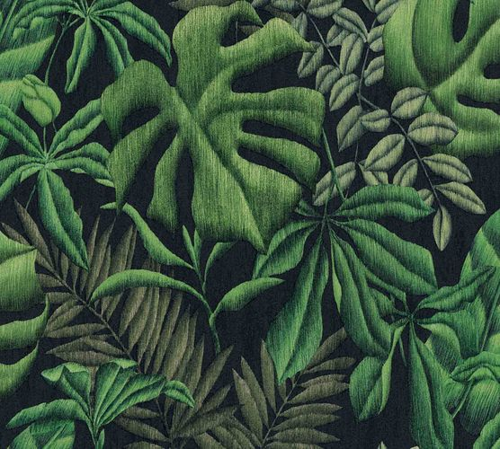 Non-Woven Botanical Leaves black green 37033-1 online kaufen