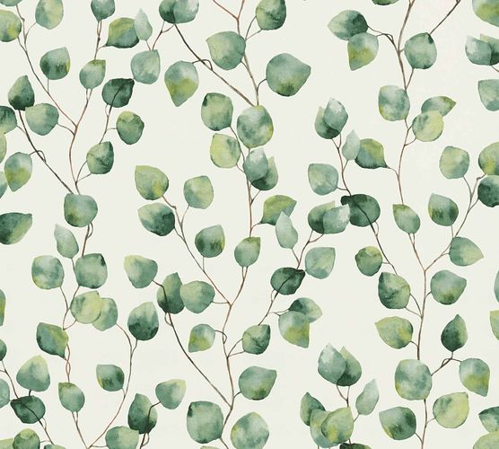 Non-Woven Blossom Leaves white green 37044-1