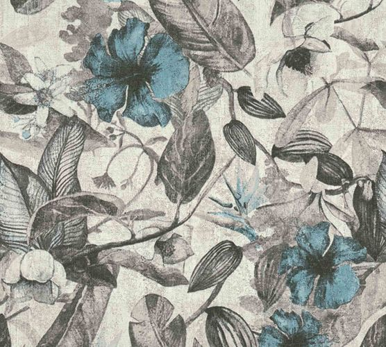 Non-Woven Jungle Blossom grey white blue 37216-2 online kaufen