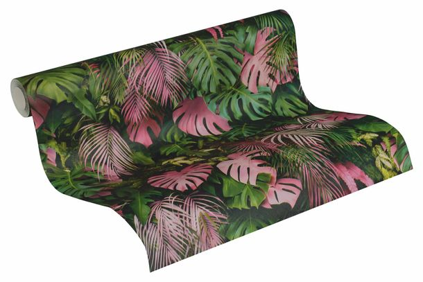 Non-Woven Jungle Leaves green pink 37280-1 online kaufen