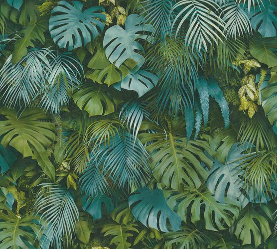Non-Woven Jungle Leaves green blue 37280-3 online kaufen