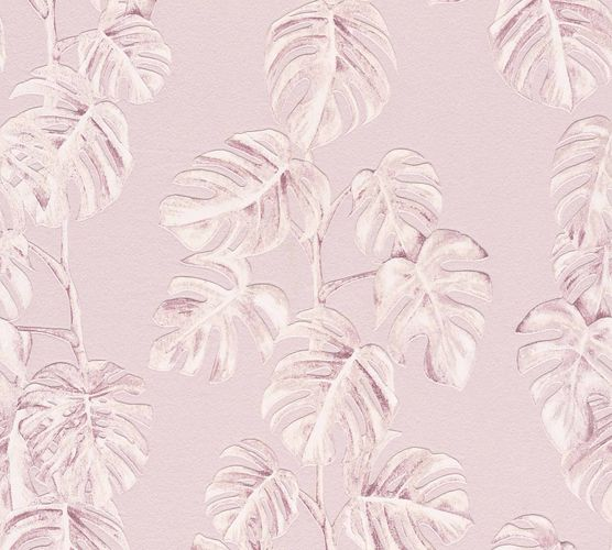 Non-Woven Leaves Floral pink white 37281-1