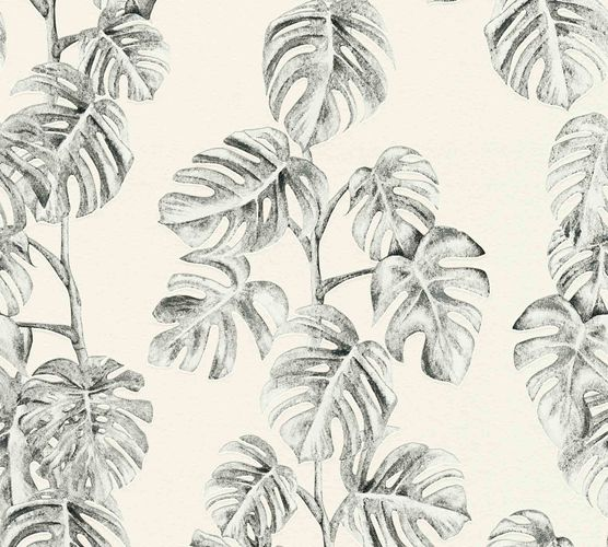 Non-Woven Leaves Floral white anthracite 37281-2 online kaufen