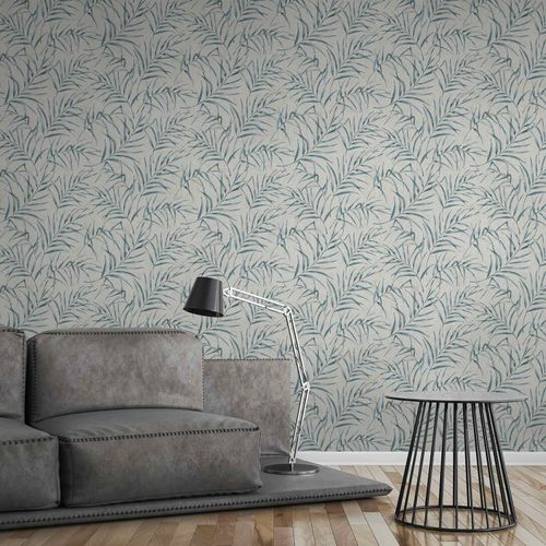 Non-Woven Fern Leaves Floral grey blue 37335-1 online kaufen