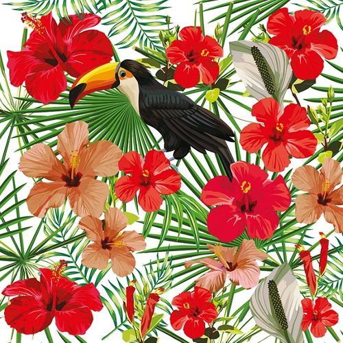 Photo Wallpaper Digital Floral Toucan white red DD116609 online kaufen