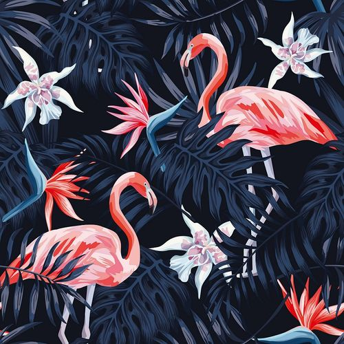 Photo Wallpaper Digital Floral Flamingo black DD116613 online kaufen
