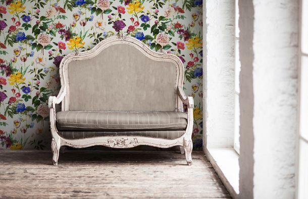 Non-Woven Wallpaper Jette Flowers cream green 37336-1  online kaufen