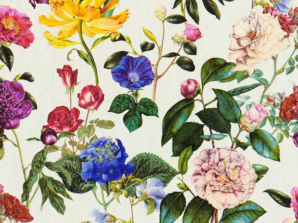 Non-Woven Wallpaper Jette Flowers cream green 37336-1  online kaufen