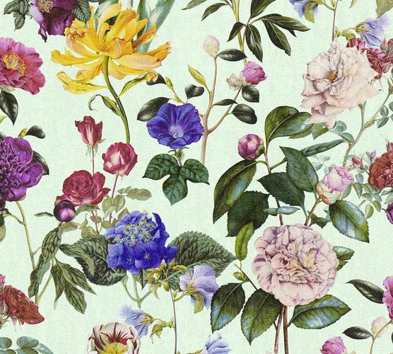 Non-Woven Wallpaper Jette Flowers blue green 37336-2