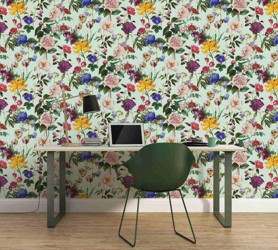 Non-Woven Wallpaper Jette Flowers blue green 37336-2 online kaufen