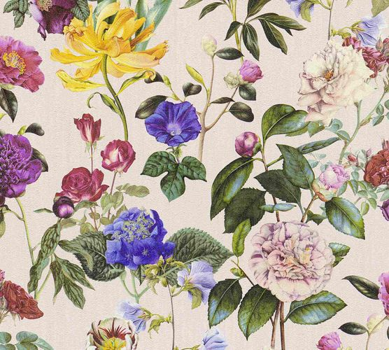 Non-Woven Wallpaper Jette Flowers pink green 37336-3
