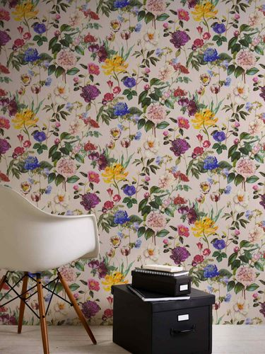 Non-Woven Wallpaper Jette Flowers pink green 37336-3 online kaufen