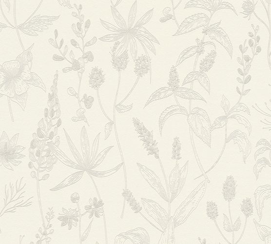 Non-Woven Wallpaper Jette Leaves white greige 37363-1