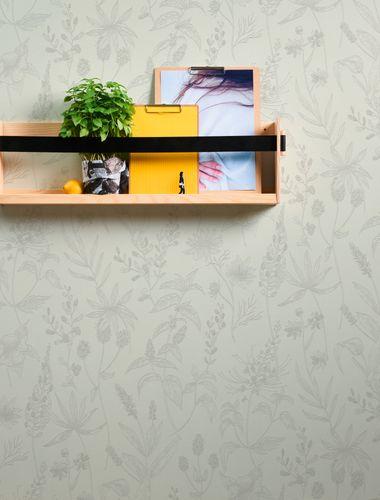 Non-Woven Wallpaper Jette Leaves white greige 37363-1 online kaufen