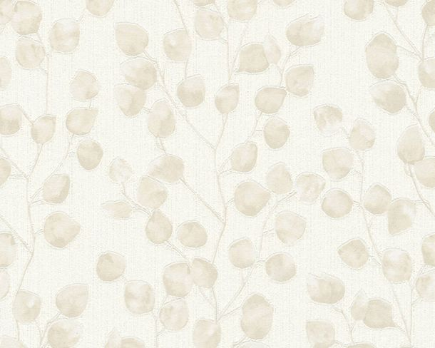 Non-Woven Wallpaper Leaves Tendrils white beige 37005-3 online kaufen