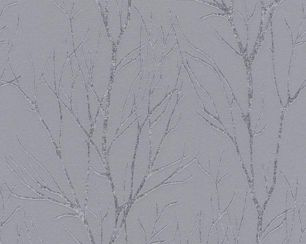 Vliestapete Zweige Floral dunkelgrau metallic 37260-1