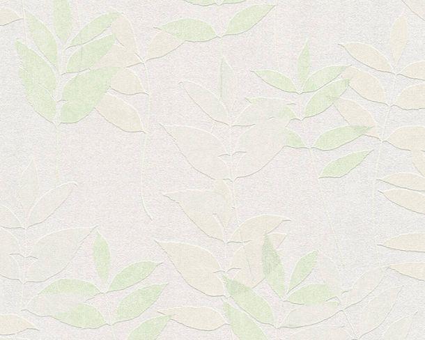 Vliestapete Floral Blätter hellgrau grün 37261-2