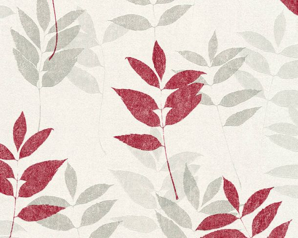 Non-Woven Wallpaper Floral Leaves white grey red 37261-3 online kaufen