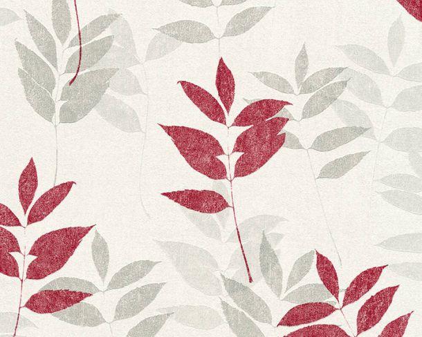 Vliestapete Floral Blätter weißgrau rot 37261-3