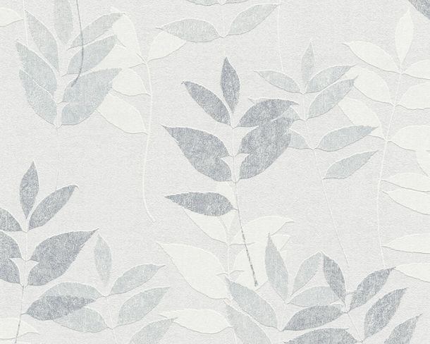 Vliestapete Floral Blätter grau cremeweiß 37261-4